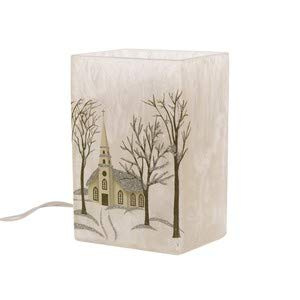 Glitzhome Christmas Glass Vase Rustic Lighted Frosted Church Rect. Glass Vase with House and Tree Decoration 5.9''H