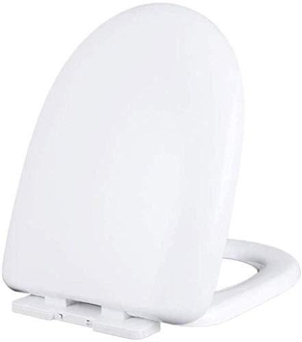 Ldwxxx Asiento de Inodoro Forma de U Universal de Asiento de Inodoro Lento hacia Abajo Lenta y silenciosa Tapa del Inodoro antibacteriana Espesado, Blanco, 43 * 34cm