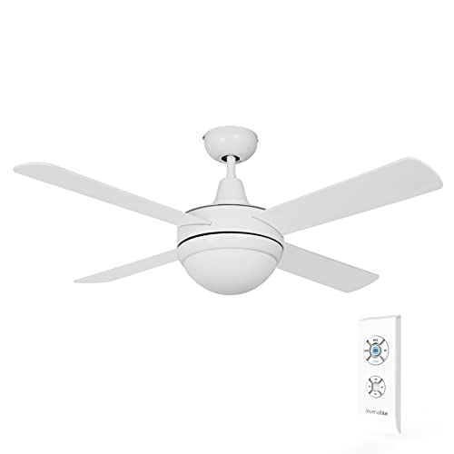 UNIVERSALBLUE | Ventilador de Techo Blanco con Luz y Mando a Distancia | 4 Aspas Reversibles | 70W | Temporizador