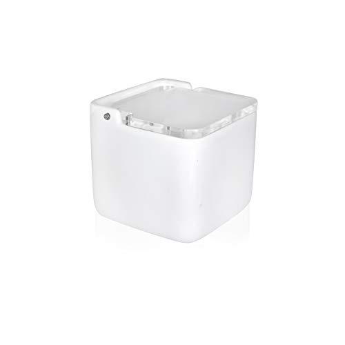 KOOK TIME saleros de Cocina con Tapa de acrílico Transparente basculante, 11.5 x 11.5 x 11.2 cm. - Saleros de Cocina Modernos con Base cerámica Blanca para Usar como salero y azucarero o especieros
