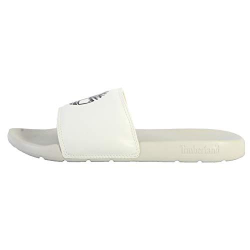 Timberland Unisex Playa Sands Slide Sandals, White w/Black, 9.0 M