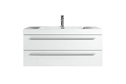 Badezimmer Badmöbel Rome 100 cm Hochglanz weiß - Unterschrank Schrank Waschbecken Waschtisch