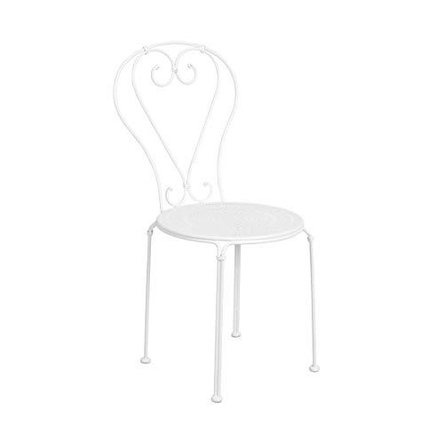 Butlers Century Stuhl mit Muster in Weiß 41x49x91 cm - Gartenstuhl beschichtetes Eisen - Französischer Balkonstuhl
