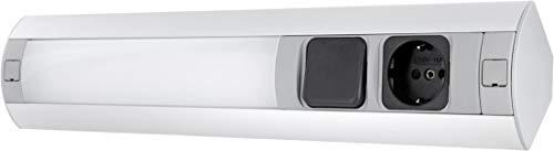 LED Aluminium Unterbauleuchte mit Steckdose + Schalter - 7W 450lm - horizontal + vertikal - 230V 3600W