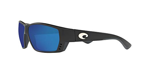 Costa Del Mar Men's Tuna Alley 580G Polarized Rectangular Sunglasses, Matte Black/Grey Blue Mirrored Polarized-580G, 62 mm