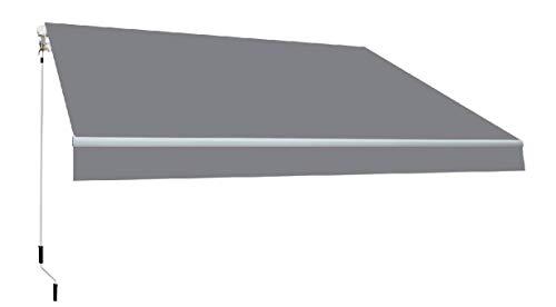 SmartSun Classic Toldo Completo 3x2m Color Gris Lona acrílica. Estructura de Aluminio. Regulable en inclinación. Manivela incluida. Toldo terraza, Jardin, Balcon