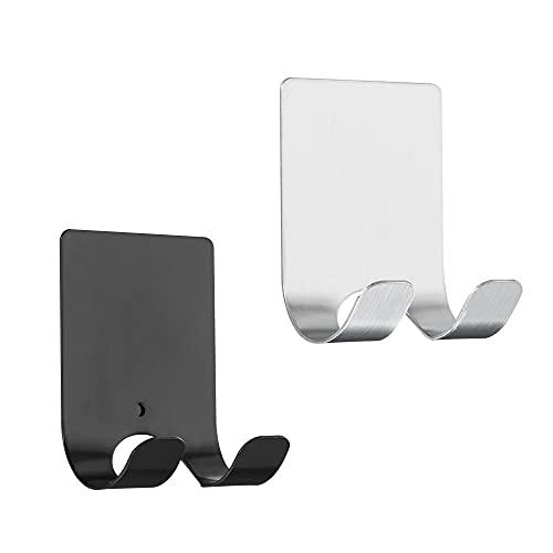 kwmobile 2x Soporte para maquinilla de afeitar con ventosa - Organizadores adhesivos para pegar en vidrio azulejos - negro/plata