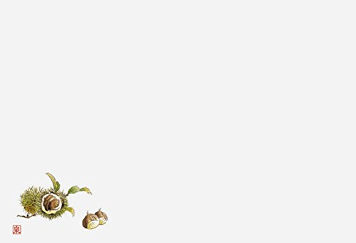 若泉漆器 上質紙マット 尺3寸長手テーブルマット 果物シリーズ 栗 100枚入 B-19-71