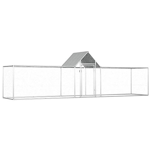 vidaXL Gallinero Exterior Grande Jaula Gallinas Conejos Aves Conejera Metal Acero Galvanizado Corral Cubierto Metálico Tejado Cerradura 5x1x1,5 m