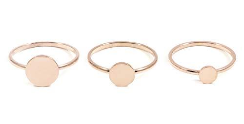 Happiness Boutique Damen Ring Set in Rosegold | Stapelringe Set 3 Kreis Ringe Geometrischer Edelstahlschmuck