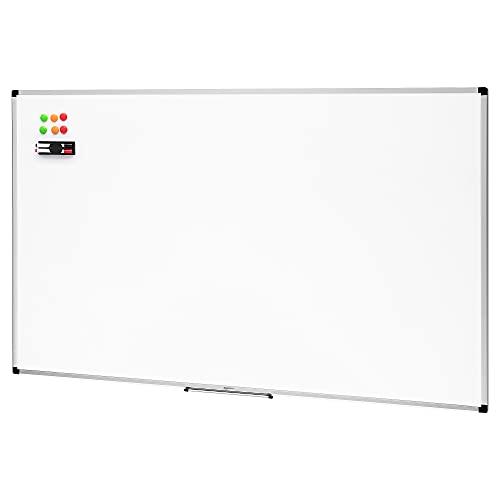 Amazon Basics Magnetisches Whiteboard mit Stiftablage und Aluminiumleisten, trocken abwischbar, 90 x 60 cm (B x H)