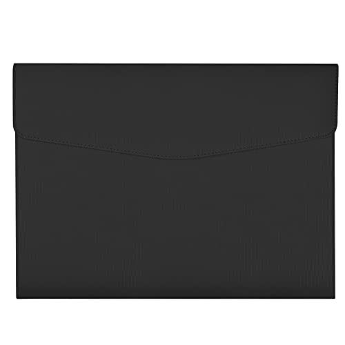 Borse di File A4 Cartelline Portadocumenti in PU Pelle Cartelle File Sacchetto del Documento Portafogli di File Buste con Bottone A4 Organizzatore di Documenti Cancelleria Scartoffie Forniture, Nero