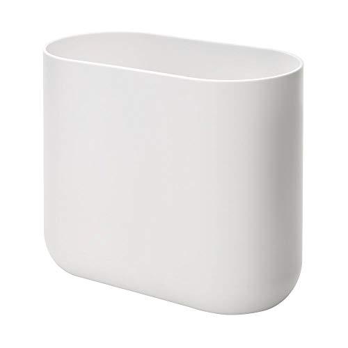 iDesign schlichter Mülleimer für Bad oder Küche, vielseitiger Kosmetikeimer im offenen Design, kleiner ovaler Abfalleimer aus Kunststoff, weiß