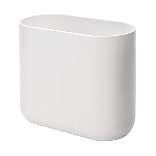 iDesign Compact Bathroom Bin, Slim Plastic Bin for Bathroom, Bedroom or Office Waste, Durable Bin with Sleek and Elegant Design, White