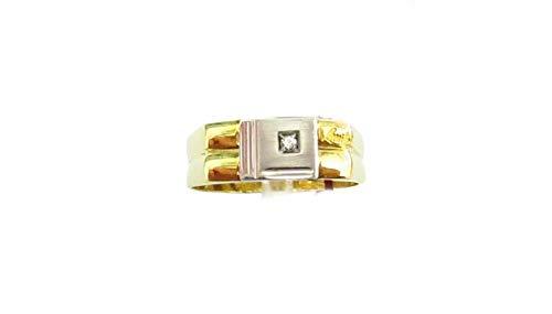 Recarlo - Anello Uomo Oro Bianco e Giallo 18 carati con Diamante