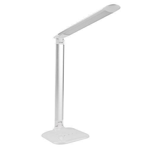 Lámpara De Mesa con Sensor Táctil Regulable Plegable con Brillo Ajustable Y Lámpara De Lectura De Encimera (Plata)