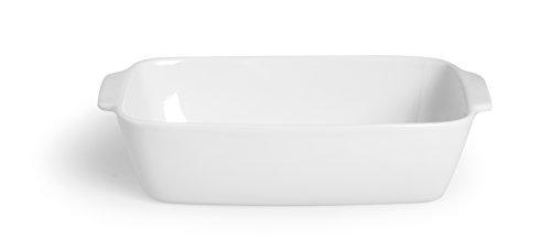 Excelsa Grand Four avec Manche Plat Rectangulaire-Céramique-Blanc-32 x 21 x 8 cm