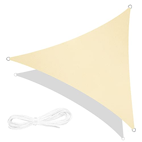 RATEL Toldo Vela de Sombra Triángulo Arena 3.6 × 3.6 × 3.6 m, protección 95% UV y Transpirable Impermeable, para Jardín, Patio, Exteriores, Pergola Decking
