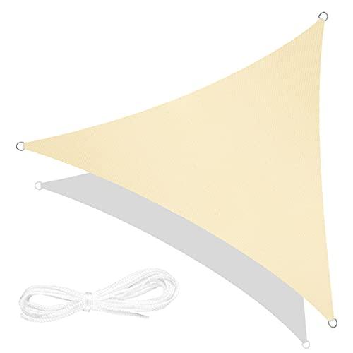 RATEL Tenda a Vela Triangolo Sabbia 5 × 5 × 5 Metri, Tende da Sole Impermeabile, Protezione Raggi 95% UV Vela Parasole Ombreggiante, Adatto per Esterni, Terrazza, Giardino, Prato…