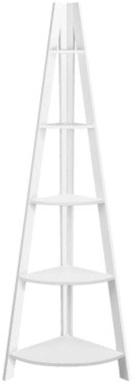 5 Tier Wooden Corner Ladder Shelf Display Books Photos Storage Rack White