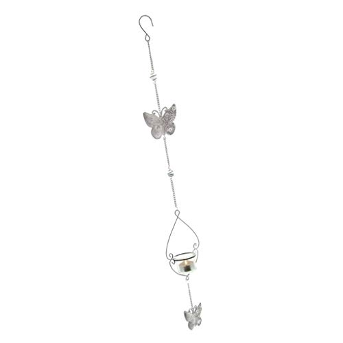 Sharplace Bougeoir Suspendu Chandelier Vintage Chaîne Fer Papillon Lanterne Blanc
