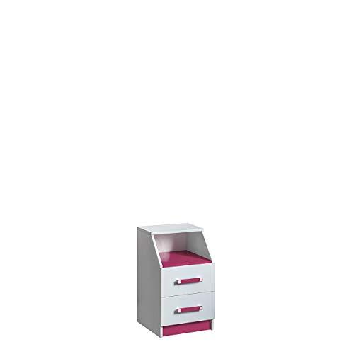 Furniture24 Schreibtisch Container TRAFIKO 15 Kommode mit 2 Schubladen für Jugend und Kinderzimmer (Weiß/Rosa)