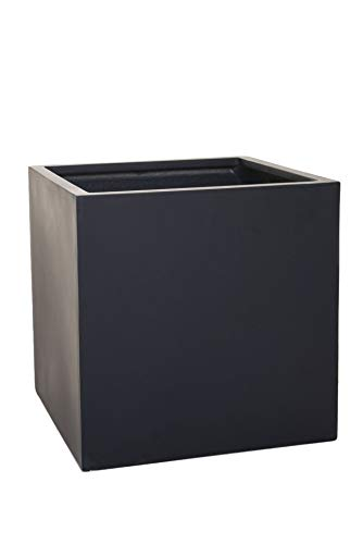 Vivanno Pflanzkübel Blumenkübel Übertopf Fiberglas Anthrazit Block 45x45x45