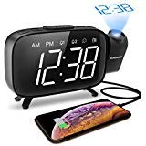 Projection Alarm Clock, ELEGIANT FM Radio Alarm Clock, 6.0'' LED Curved-Screen Display with Dimmer...
