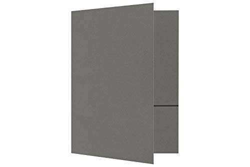 9 x 12 Presentation Folders in 100 lb. Smoke with 2 Pockets, Holder for Standard 8 1/2 x 11 Paper, Professional Documents, Brochures, School Reports, 50 Pack (Gray)