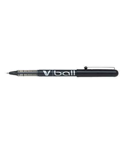 Bolígrafo Pilot V-BALL de punta redonda 0.7mm, 12 unidades, Color negro
