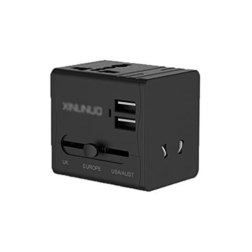 QWZ Adaptador Internacional del Adaptador de Power, Adaptador Universal de Viaje Un Adaptador de Enchufe de CA de un Cargador de Pared Internacional, 3 Puertos USB (tamaño : 2USB)