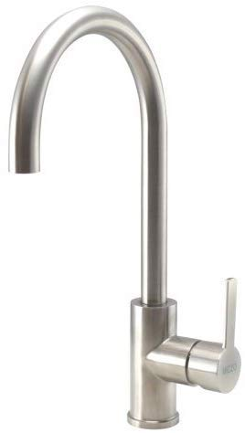 Rubinetto miscelatore per lavello da cucina Mizzo Design 10070d, 100% acciaio inox spazzolato opaco. robusto monocomando per lavabo - getto girevole -