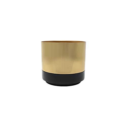 LaLe Living Macetero de hierro de color negro y dorado, diámetro de 13,5 cm, como maceta o maceta...