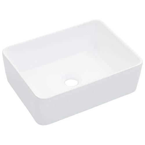 UnfadeMemory Lavabo Cerámica de Baño,Diseño Moderno y Contemporáneo,sobre el Mueble (Blanco, 40x30x13cm)