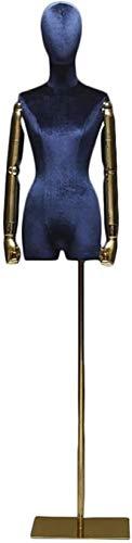 YZJL Maniquí Femenino Torso Body Head Dress Form con Brazos Flexibles Soporte Dorado Profesional para Ropa Vestido Exhibición de joyasmaniquí