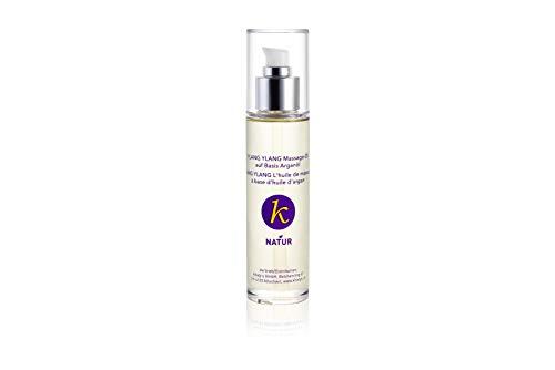 Khaty's NATUR-Kosmetik Körper- und Massageöl Ylang-Ylang, mit Argan-, Mandel-, und den ätherischen Ölen des Ylang-Ylang-Baumes, 1er Pack (1 x 100 g)