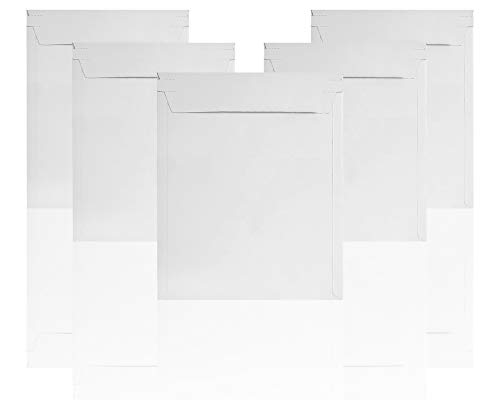 Rigid Mailers 11 x 13.5 Paperboard mailers 11 x 13 1/2. Pack of 20 white photo mailers. Stay Flat mailers. No bend, Self sealing. Documents chipboard envelopes. Mailing, shipping, packaging.