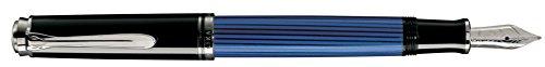 Pelikan 932962 Kolbenfüllhalter (Souverän M 405, rhodinierte Goldfeder 14-K/585, Federbreite M, 1 Stück) schwarz/blau