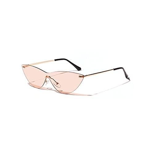 HUALIAN GUYINGQIU Gafas de Sol con enamoradas versátiles de Moda para Mujer y Hombres de Moda para Mujer Gafas de Ojo de Gato para Mujer a Prueba de UV Gafas Rosadas Transparentes (Color Name : Geel)