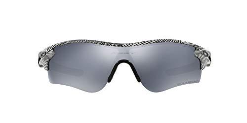 OAKLEY Radarlock Path OO9181 Gafas de sol para Unisex, Blanco Brillo/Negro Rallas, 0