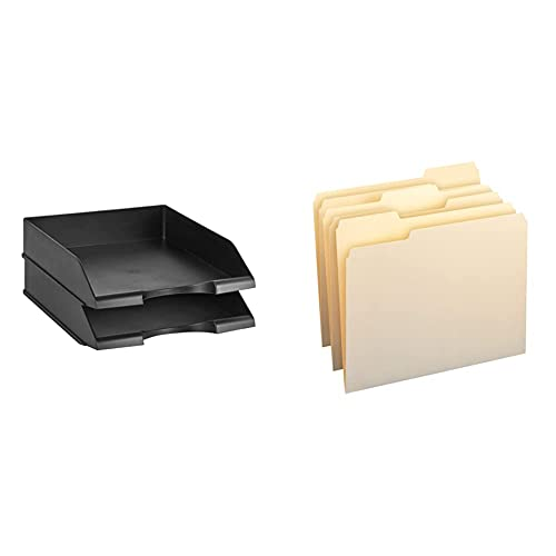 Amazon Basics Stackable Office Letter Organizer Desk Tray - Pack of 2, Black & 1/3-Cut Tab, Assorted Positions File Folders, Letter Size, Manila - Pack of 100