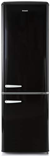 Domo Réfrigérateur Combiné Vintage   Look Rétro   Style année 50   Classe A++   Capacité 181L + 63L soit 244L   Charnière à droite (Noir)