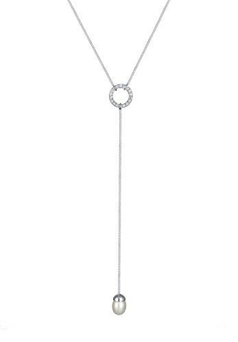 Elli Women Necklace Y-Shape Swarovski Crystals Pearls 925 Silber Length 60cm 0106531016