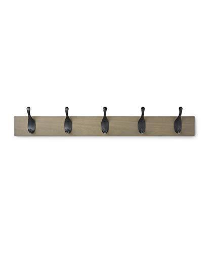 Amazon Basics - Perchero de madera de pared, 5 ganchos modernos 57 cm, Madera noble