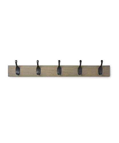 Amazon Basics - Perchero de madera de pared, 5 ganchos modernos 57 cm, Madera noble