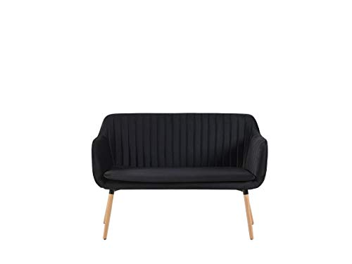 Beliani Modernes 2-Sitzer Küchensofa Samtstoff schwarz mit Metallgestell Holzoptik Taby