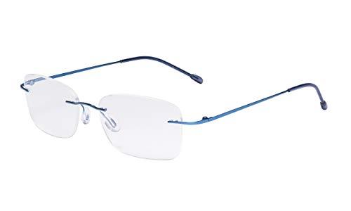 Eyekepper Ladies Frameless Reading Glasses - Lightweight Rimless Readers Women Blue +1.75