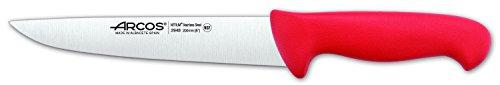 Arcos Séries 2900 - Couteau de Boucher Couteau à Steak - Lame Acier Inoxydable Nitrum 200 mm - Manche Polypropylène Couleur Rouge