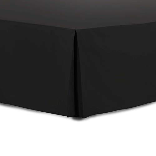 Adam Home Faltenvolant (kleines Doppelbett, schwarz) – strapazierfähiges Polyester-Baumwoll-Bettrock, luxuriös, 5 Boxen, Plissee mit 38,1 cm Länge, waschbare Staub-Rüschen, Hotelqualität & abriebfest