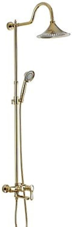 ZULUX Tmaker- Vintage Style Gold-Ti-PVD Zwei Lcher Einhand mit 8  Round Duschbrausebatterie